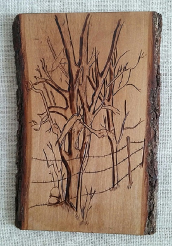 Barbed Wire Fence Wood Burning Plaque
