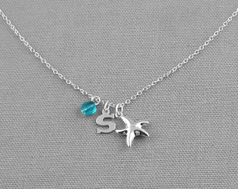 Personalized Starfish Sterling Silver Charm Necklace, Birthstone Necklace, Initial Charm