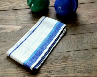 Vintage Linen Dish Towels; blue stripes