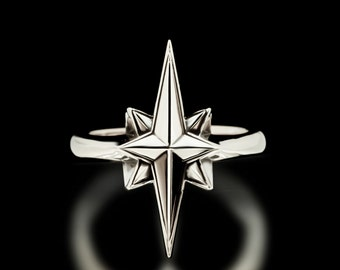 North Star Ring Sterling Silver Stars Astrology