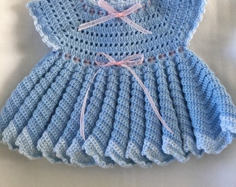 Crocheted blue baby dress