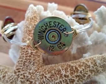 12 Gauge spent shotgun shell wrapped bracelet