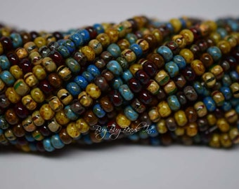 6/0 Aged Seed Beads, Aged Caribbean Blue Picasso Mix, Czech Glass Seed Beads, 20inch Strand (Approx 145-160 Beads)