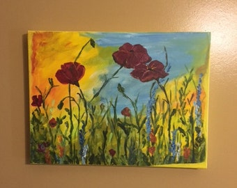 Morning Poppies, 12x16, acrylic painting
