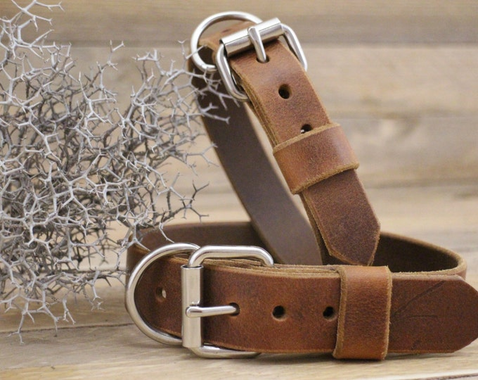 Leather dog collar, FREE ID TAG, Distressed leather collar, Dog gift, Personalised gift, Handmade leather collar, Cowboy brown collar