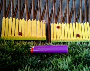 Custom Miniature Dual sided Picket Fence with Lady Bugs and Butterflies