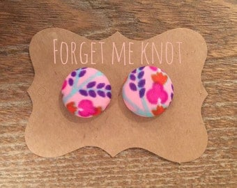 Baby Pink Floral fabric button earrings