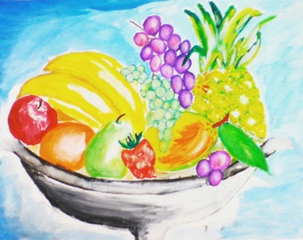 Fengshui Hand painted fruit basket, Good luck, Abundance, Richness, Fulfilled, result to efforts, Fruition, healing,