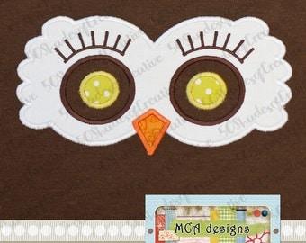 Peep Eyes Owl Girl Applique Design