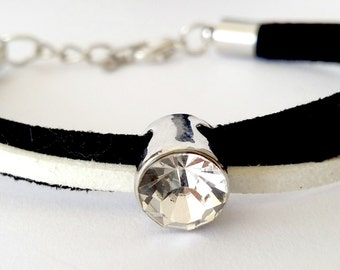 Dainty Suede Cord Diamante Bracelet