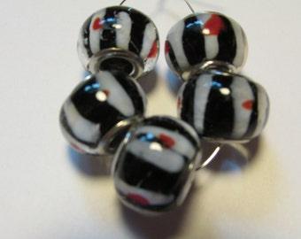 5 glass beads fits european bracelet LHJ4-3