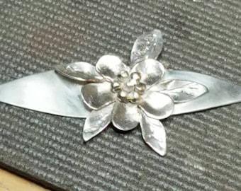 Sterling silver flower statement pendant