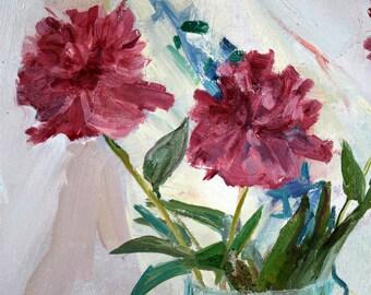 summer Still Life, dark pink peonies on a white background