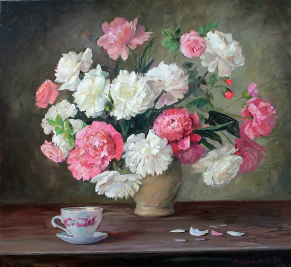 Black Flower Watercolor Art By Tae Lee: Original Oil Paint Bouquet White Pink Peony Oil By