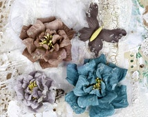Prima Flowers Troika Urbana Flower Multi Colored Pack 566906 crafts weathered teal wrinkled purple violet mauve and burgundy