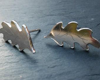 Handmade Silver Oak Leaf Earrings