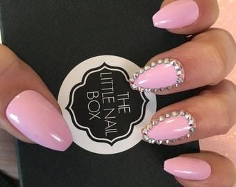Pink Swarovski Coffin/Ballerina stick on nails | stick on nails | glue on nails | false nails | fake nails