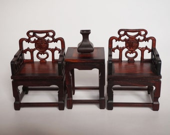 Traditional Chinese wooden fauteuil model set - superior rose wood  -padauk wood