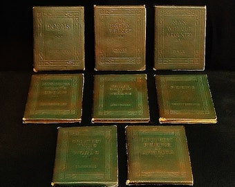 Antique! The LITTLE LEATHER LIBRARY, Lot of Eight. See description for titles. Greenish Brown Covers. 1918-1923.