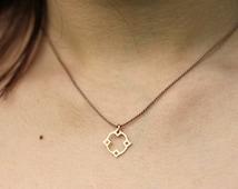 Moroccan Diamond Charm, Delicate Silk Cord Necklace, Gold Jewelry