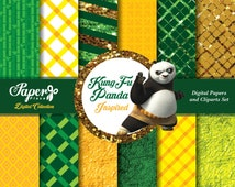 Kung Fu Panda Digital Scrapbook Paper and Cliparts set, Green Gold Orange Digital Paper, Patterns, Chevron, Stripes, Grunge, glitter
