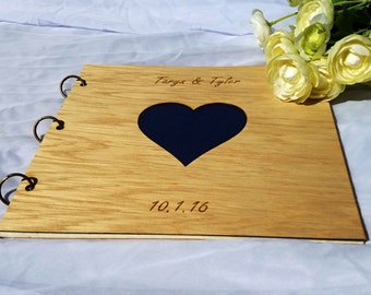 Photo Album Wood/ Wood Wedding Guest Book/ Wedding Scrapbook/ Wedding Photo Album/ Wood Gift Album/ Heart Design Photo Album