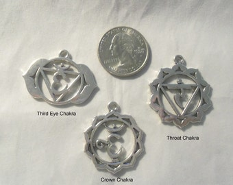 Set of 7 Fancy Chakra Charms - Bright Silver Plate (1573)