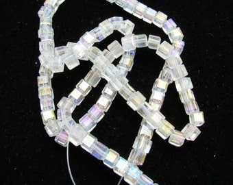 1 Strand 4mm Cube Glass Beads Clear AB (B52a3)