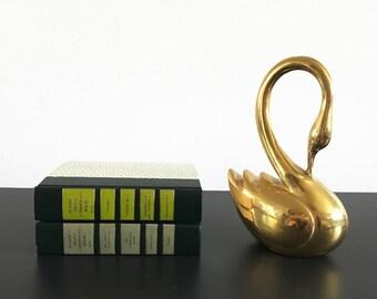 Large Vintage Brass Swan