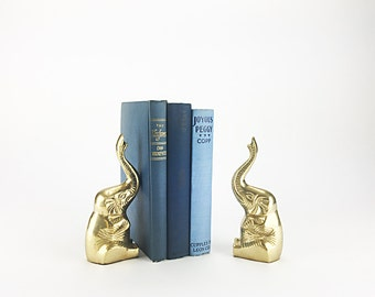 Brass Elephant Bookends    Animal Bookends   Brass Bookends   Nursery Decor   Gift for Her   Gift for Him