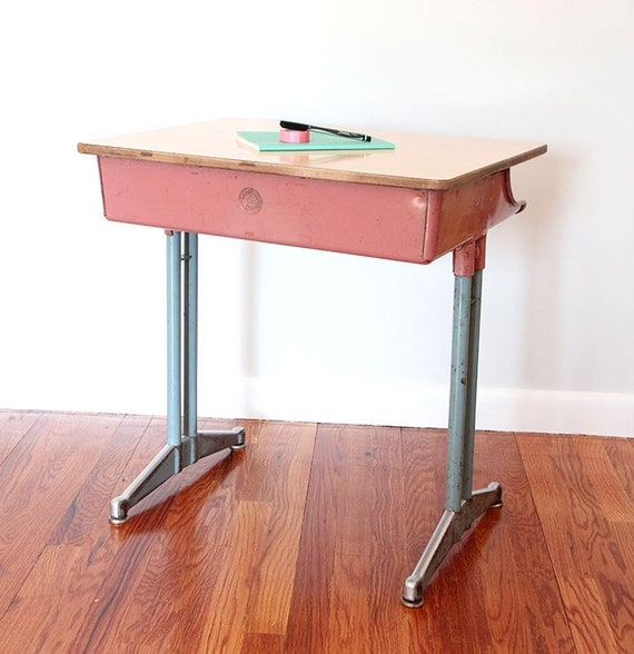 Vintage Classmate Pink And Blue School Desk By The. Table Tennis Board. Family Desk. Trestle Desk Ikea. Light Wood Table. Kitchen Desk Chair. Sofa Console Tables. Exercise Equipment For Work Desk. Desk With Outlets