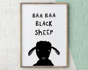 Baa Baa Black Sheep, Sheep Print, Nursery Rhyme, Black and White Nursery, Sheep Wall Art, Printable Nursery, Black and White Printable Art