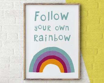 Follow Your Rainbow Print, Rainbow Wall Art, Rainbow Illustration, Rainbow Nursery Print, Nursery Decor Colourful, Wall Art Rainbow, Weather