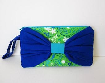 Bow Clutch Purse, Fabric Wristlet Purse, Blue and Green Wristlet, Fabric Clutch, Blue Wristlet, Fabric Purse, Summer Wristlet