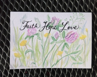 Faith Hope Love note card