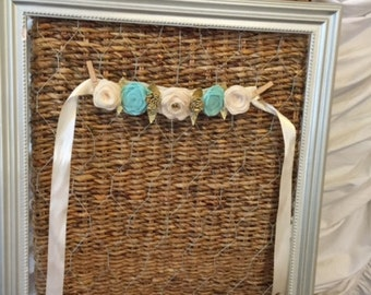 Ivory and Teal Felt Crown