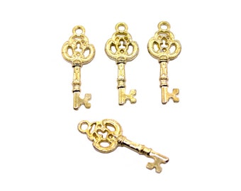 6 Gold Key Charms | Key Pendant, Gold Key Pendant, Key Jewelry, Small Key Charm, Skeleton Key