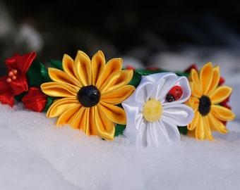 kanzashi, hoop, hoop for hair, with flowers, kanzashi flowers, hoop with flowers, kanzashi hoop, free shipping