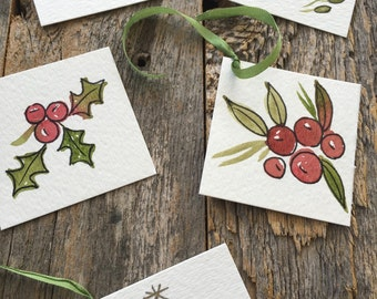 Holiday gift tags, Christmas mini cards