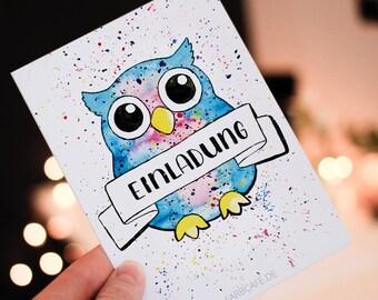 15 (+5 Gratis) Eulen  Einladungskarten Für Kindergeburtstag, Party,  Geburtstagseinladung,