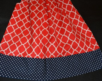Girls Pillowcase Dress in Red Quatrefoil,  Monogramming/Applique Pillowcase Dress, Red & Blue Pillowcase Dress