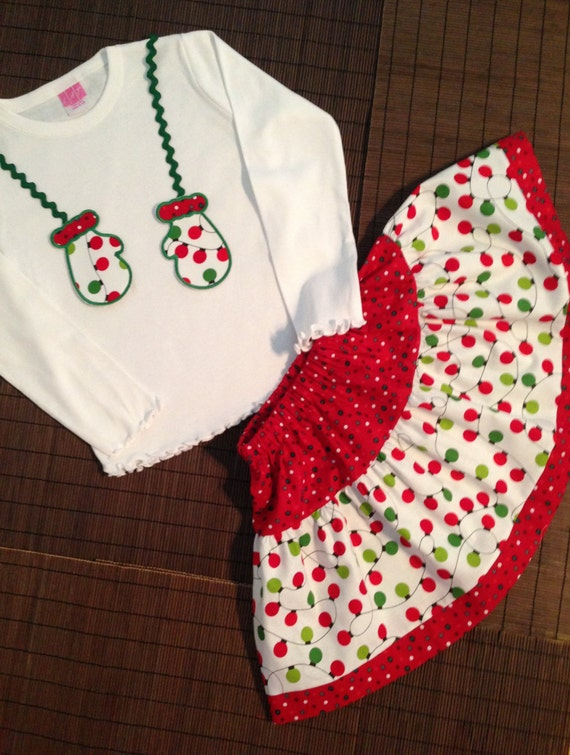 Holiday Outfit, Christmas Skirt Outfit, Mitten Skirt Outfit, Baby Christmas Outfit, Girl Christmas Outfit, Toddler Christmas Outfit