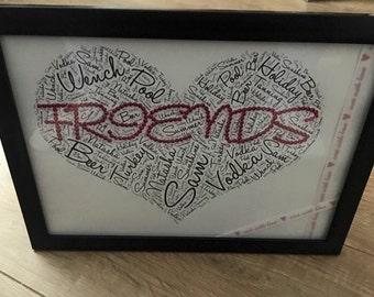 Heart filled diamanté word frame