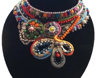 Handmade Multi Color Tribal Statement Necklace