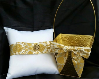 Gold flower girl basket, ring bearer pillow