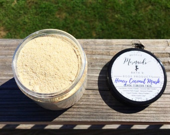 Honey Coconut Glowing Hydration Mask - Skin Soothing Dry Face Mask - Moisturizing Facial 2 or 4 oz