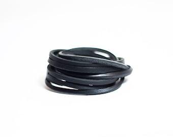 Black Chain Leather Bracelet