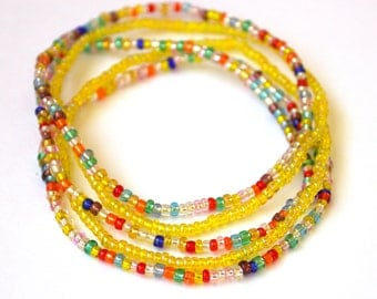 Yellow and multicolored bead stretch bracelet, set of 5, boho