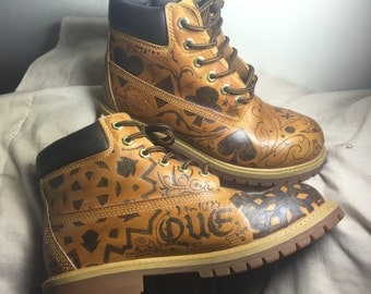 Items Similar To Spiked Painted Cheetah Print Timberland
