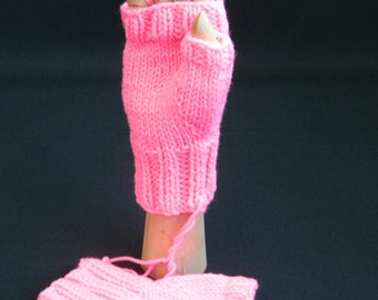 Fingerless Gloves/Mitts - Bubble Gum Pink